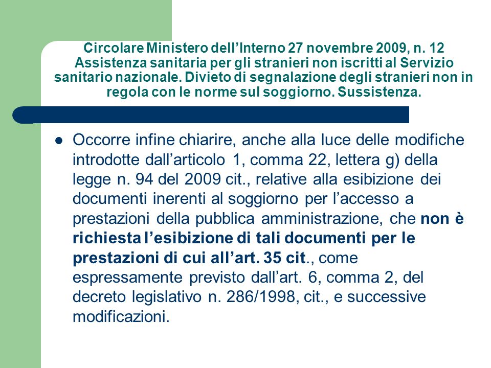 Circolare Ministero dell'Interno 27 novembre 2009, n