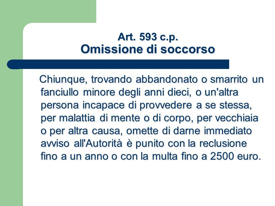 Art. 593 c.p. Omissione di soccorso