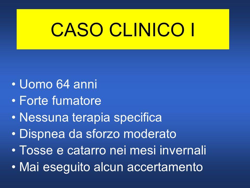CASO CLINICO I Uomo 64 anni Forte fumatore Nessuna terapia specifica