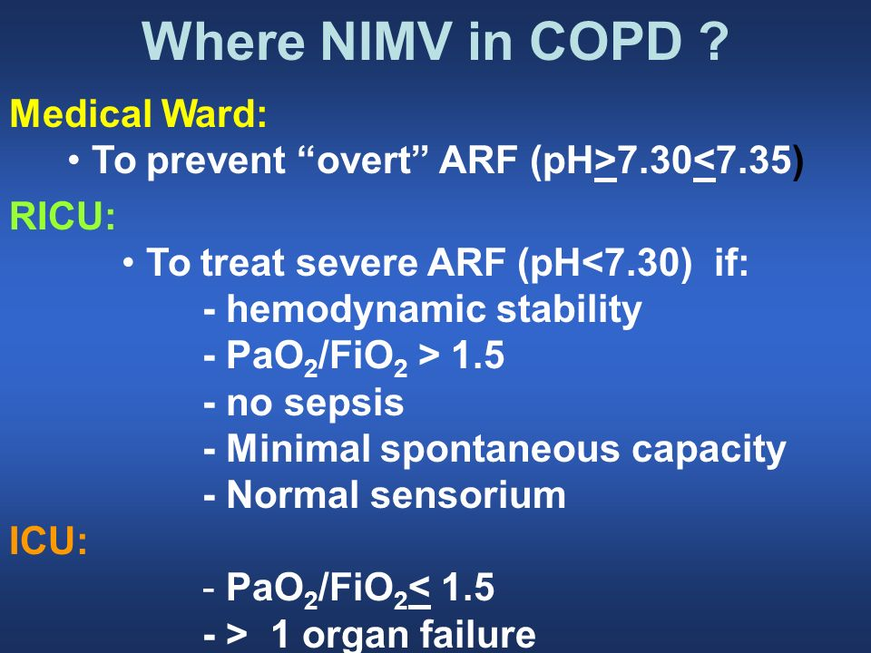 Where NIMV in COPD Medical Ward: