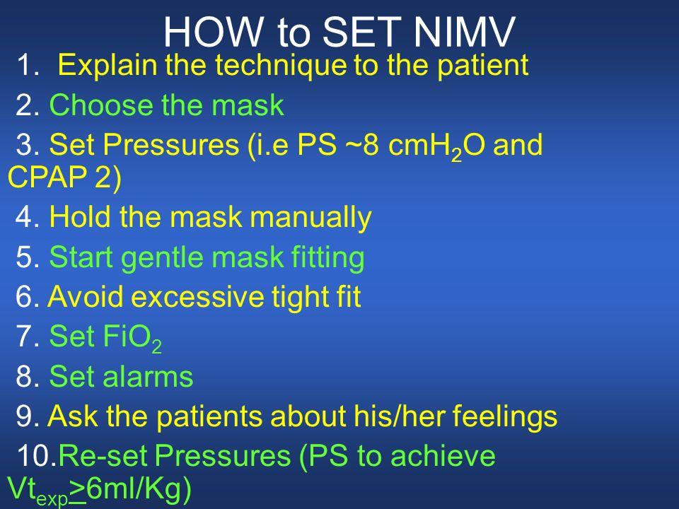 HOW to SET NIMV 1. Explain the technique to the patient