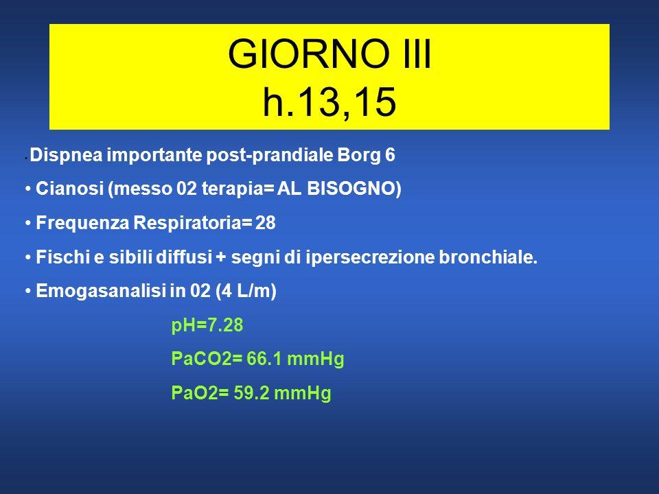 GIORNO III h.13,15 Cianosi (messo 02 terapia= AL BISOGNO)