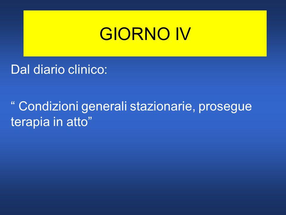 GIORNO IV Dal diario clinico: