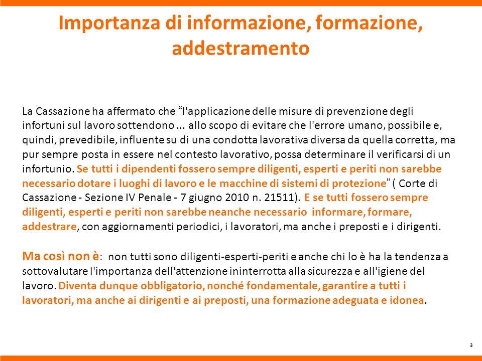 Importanza di informazione, formazione, addestramento
