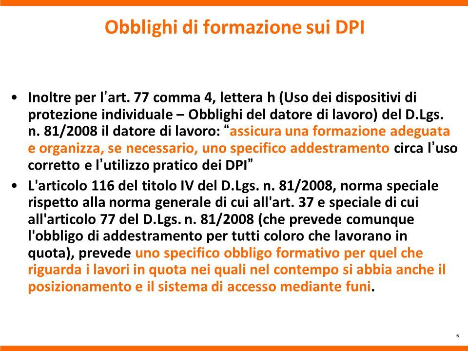 Obblighi di formazione sui DPI
