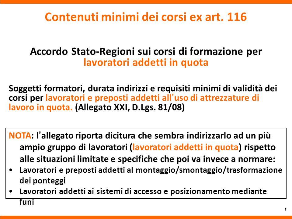 Contenuti minimi dei corsi ex art. 116