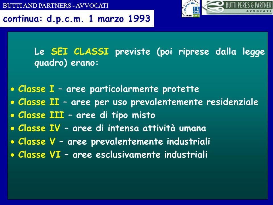 continua: d.p.c.m. 1 marzo 1993 Le SEI CLASSI previste (poi riprese dalla legge quadro) erano:  Classe I – aree particolarmente protette.