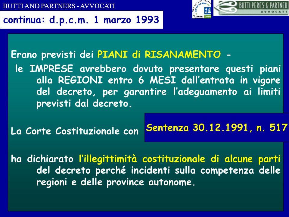 continua: d.p.c.m. 1 marzo 1993 Erano previsti dei PIANI di RISANAMENTO -