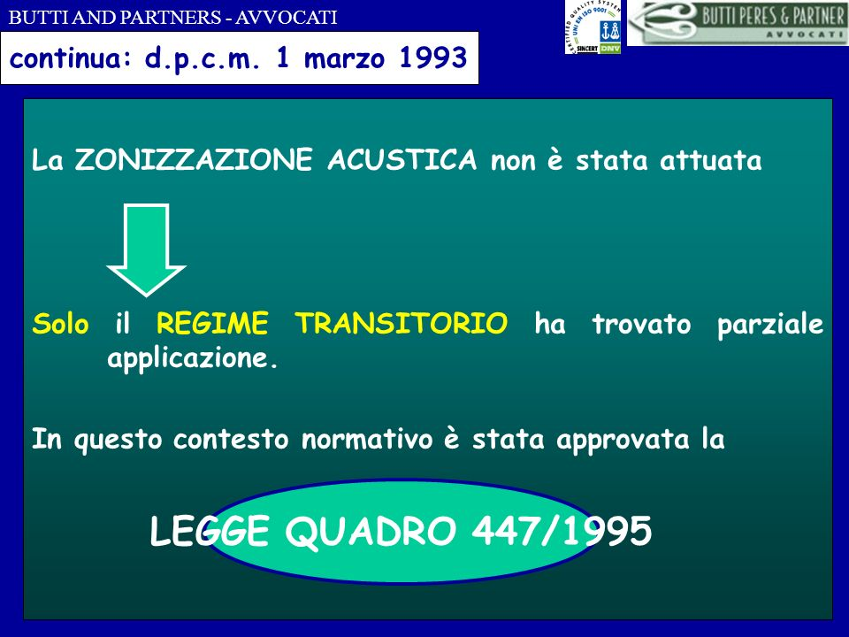 LEGGE QUADRO 447/1995 continua: d.p.c.m. 1 marzo 1993