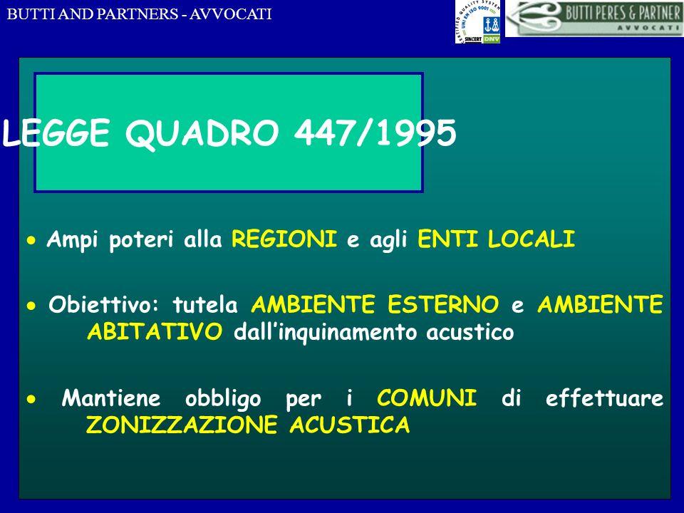 LEGGE QUADRO 447/1995  Ampi poteri alla REGIONI e agli ENTI LOCALI