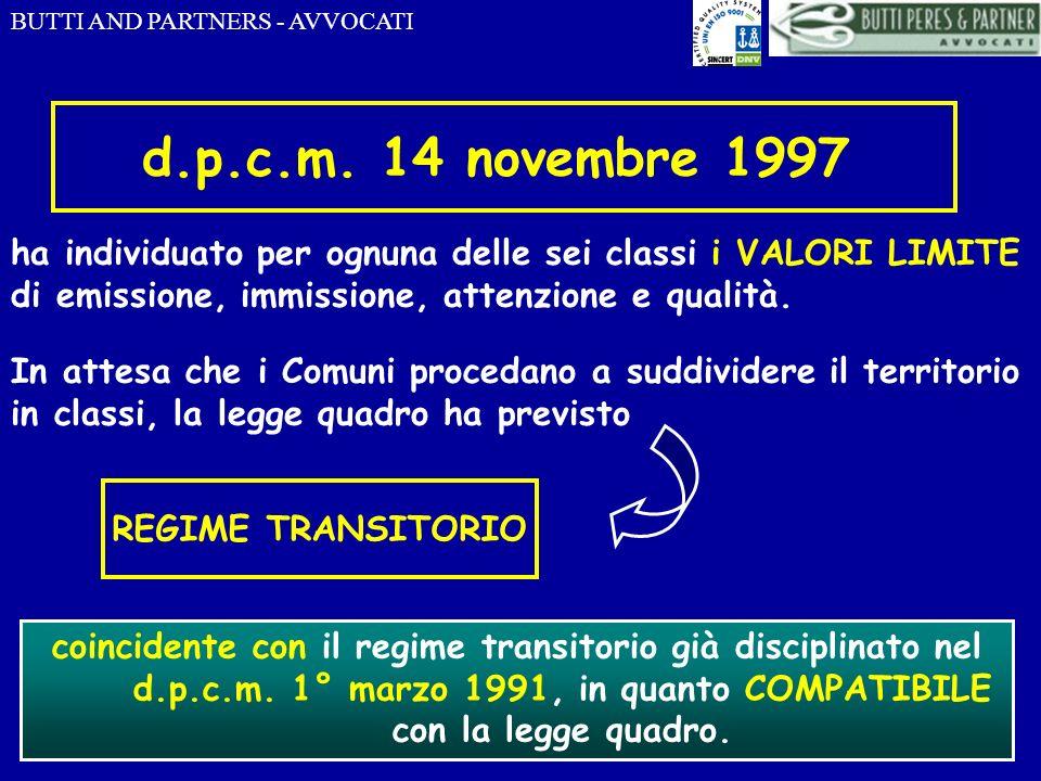 d.p.c.m. 14 novembre 1997 ha individuato per ognuna delle sei classi i VALORI LIMITE di emissione, immissione, attenzione e qualità.