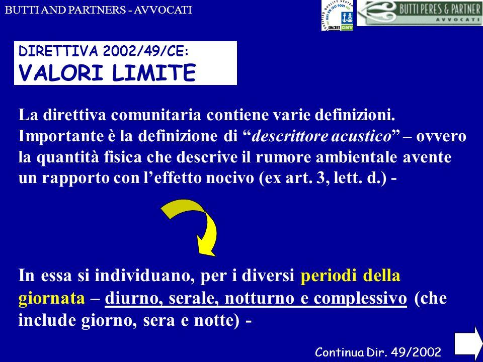DIRETTIVA 2002/49/CE: VALORI LIMITE