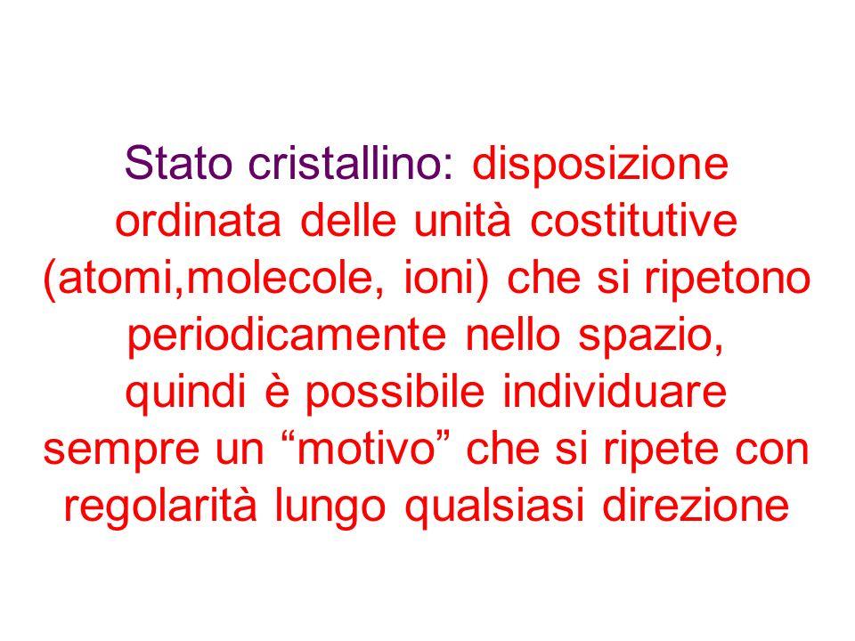 Stato cristallino: disposizione ordinata delle unità costitutive (atomi,molecole, ioni) che si ripetono periodicamente nello spazio,