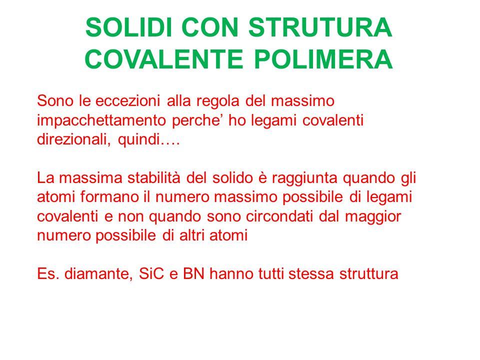 SOLIDI CON STRUTURA COVALENTE POLIMERA