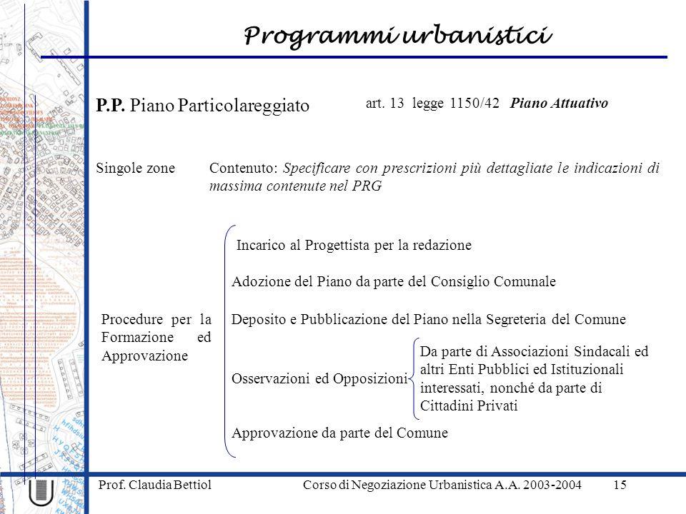 Prof. Claudia Bettiol Corso di Negoziazione Urbanistica A.A. 2003-2004