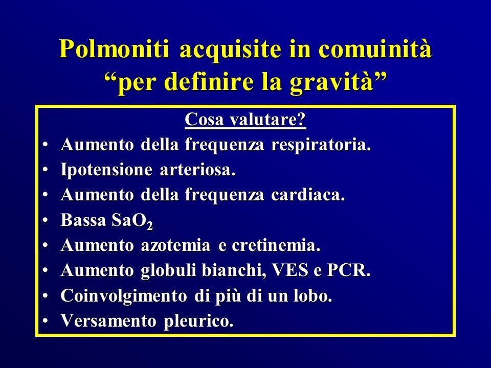 Polmoniti acquisite in comuinità per definire la gravità