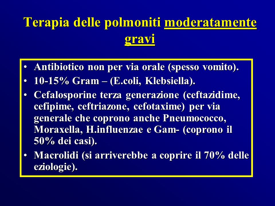 Terapia delle polmoniti moderatamente gravi