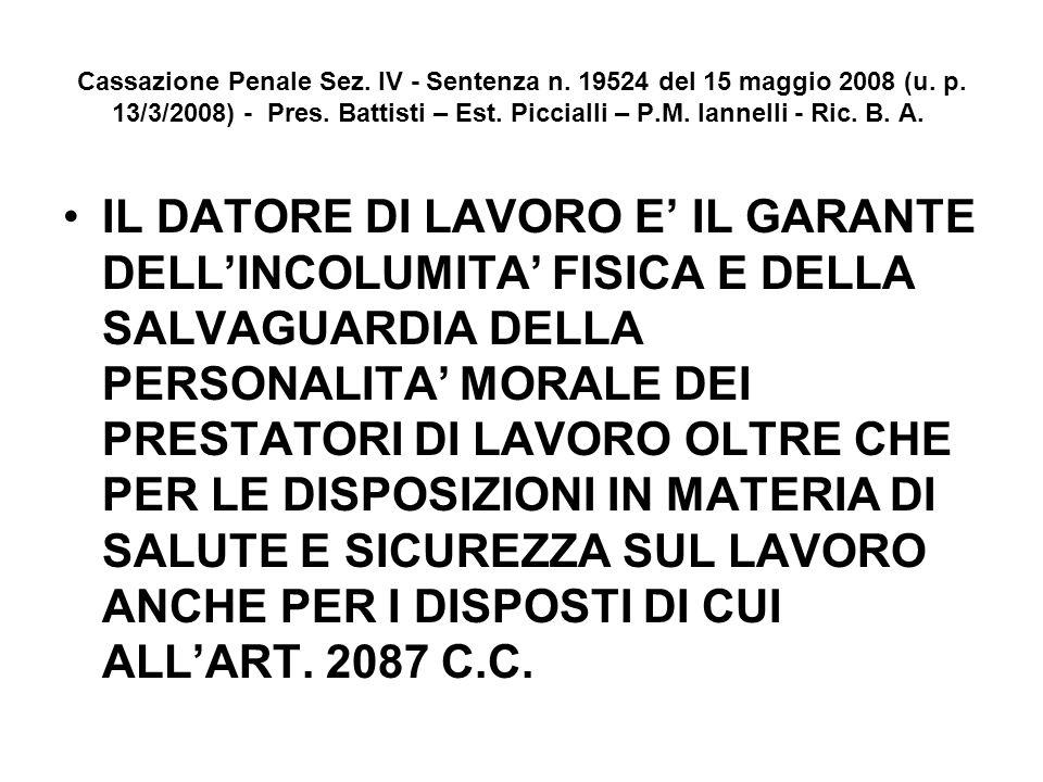 Cassazione Penale Sez. IV - Sentenza n. 19524 del 15 maggio 2008 (u. p