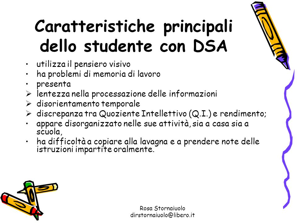 Caratteristiche principali dello studente con DSA