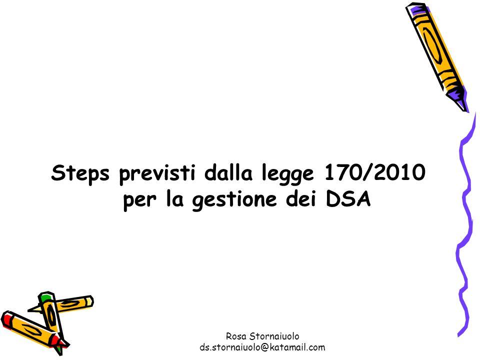 Steps previsti dalla legge 170/2010 per la gestione dei DSA