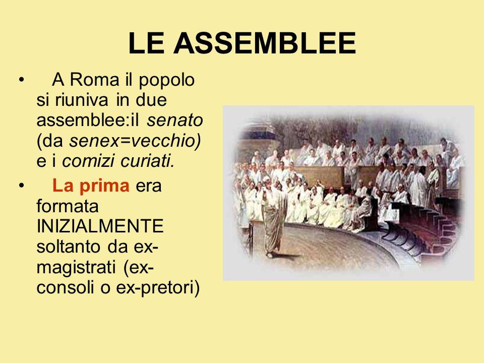 LE ASSEMBLEE A Roma il popolo si riuniva in due assemblee:il senato (da senex=vecchio) e i comizi curiati.