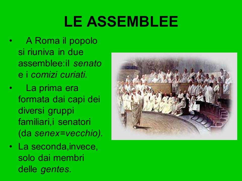 LE ASSEMBLEE A Roma il popolo si riuniva in due assemblee:il senato e i comizi curiati.
