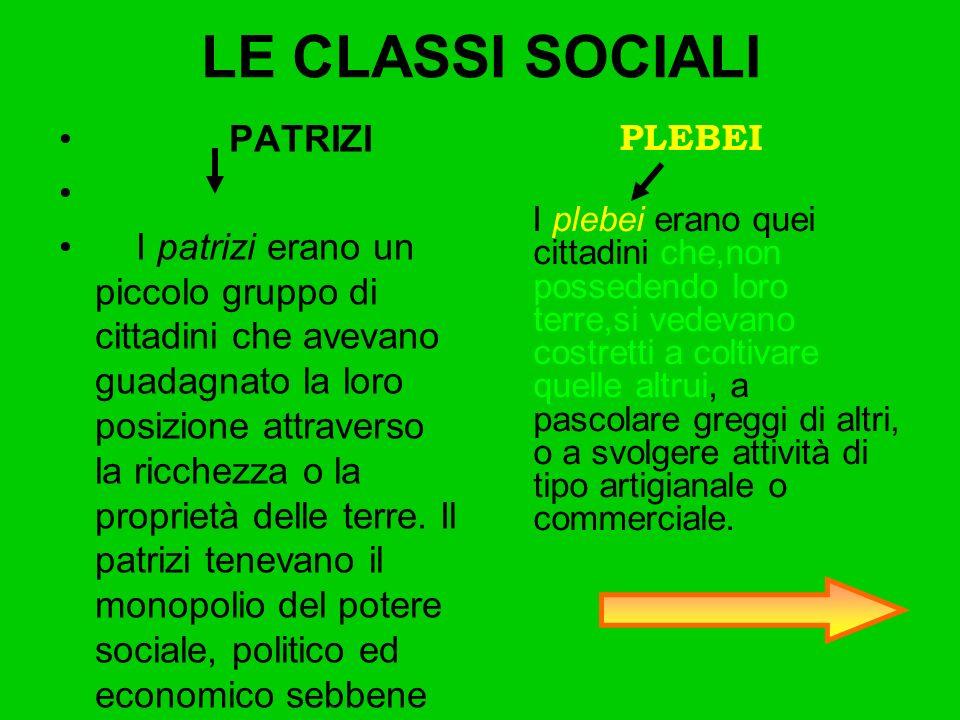 LE CLASSI SOCIALI PATRIZI