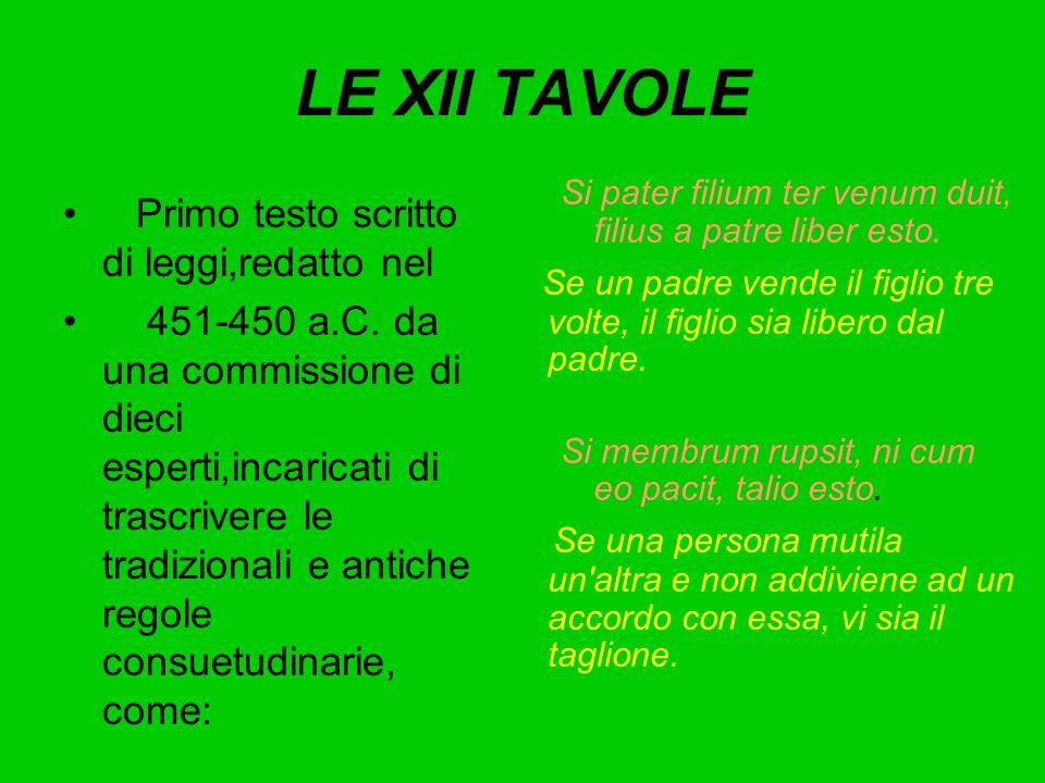 LE XII TAVOLE Primo testo scritto di leggi,redatto nel