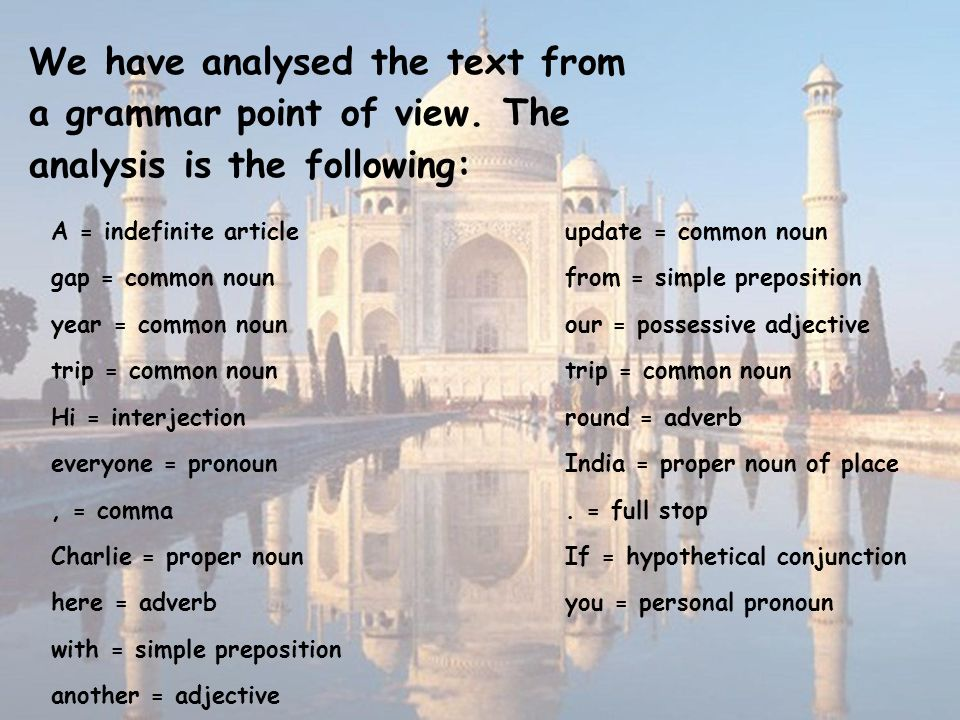 We have analysed the text from a grammar point of view