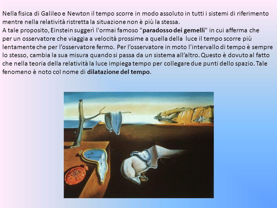 Nella fisica di Galileo e Newton il tempo scorre in modo assoluto in tutti i sistemi di riferimento