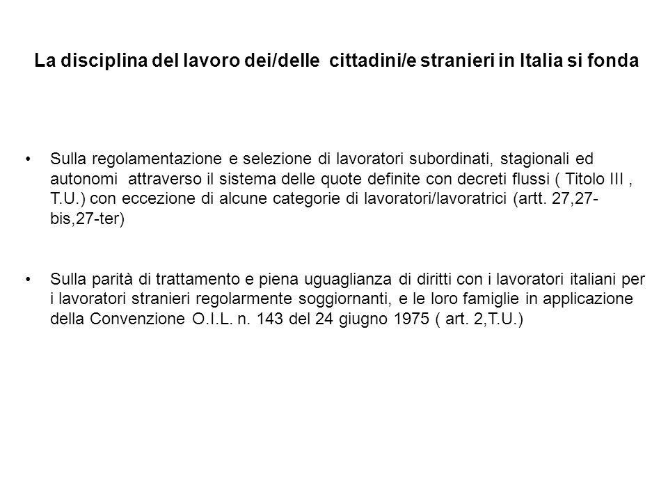 La disciplina del lavoro dei/delle cittadini/e stranieri in Italia si fonda