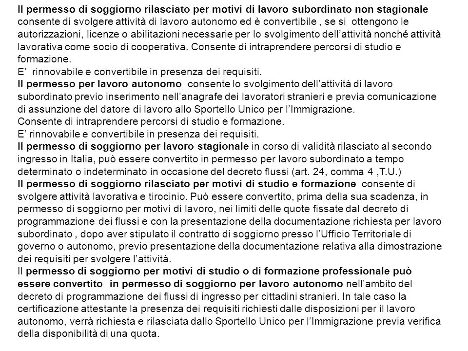 Immigrazione lavoro e prestazioni sociali ppt scaricare for Requisiti per permesso di soggiorno