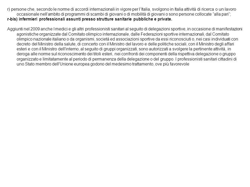 r) persone che, secondo le norme di accordi internazionali in vigore per l'Italia, svolgono in Italia attività di ricerca o un lavoro occasionale nell'ambito di programmi di scambi di giovani o di mobilità di giovani o sono persone collocate alla pari ;