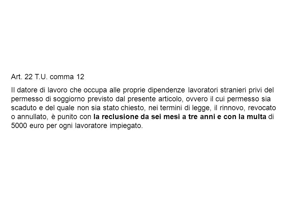 Art. 22 T.U. comma 12