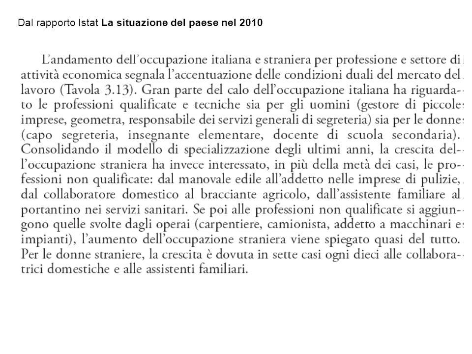 Dal rapporto Istat La situazione del paese nel 2010