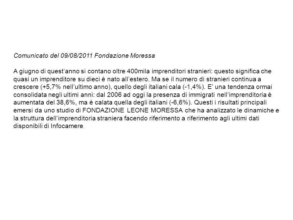 Comunicato del 09/08/2011 Fondazione Moressa