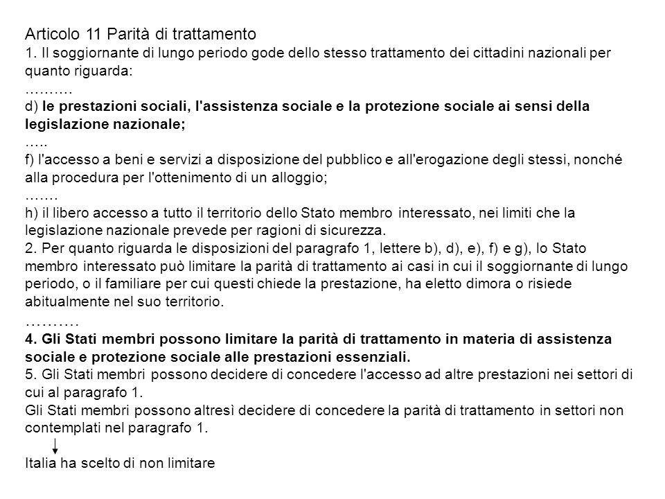 Articolo 11 Parità di trattamento