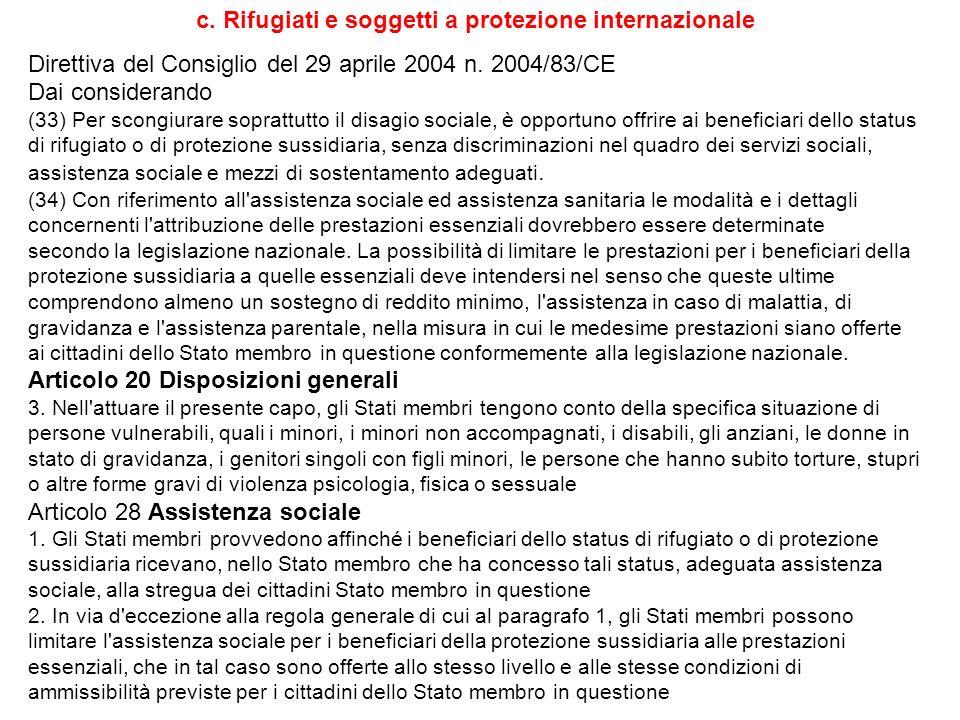 c. Rifugiati e soggetti a protezione internazionale