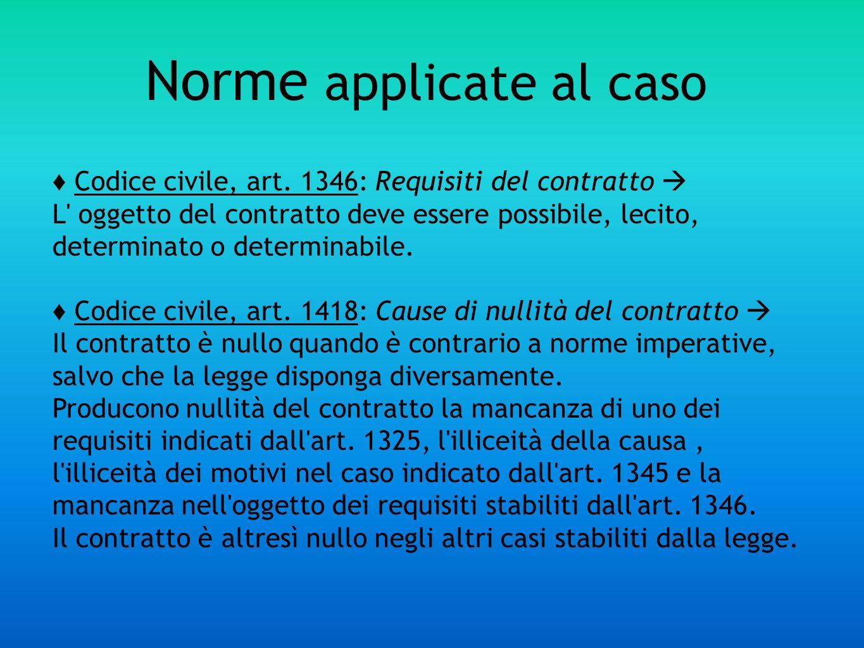 Norme applicate al caso