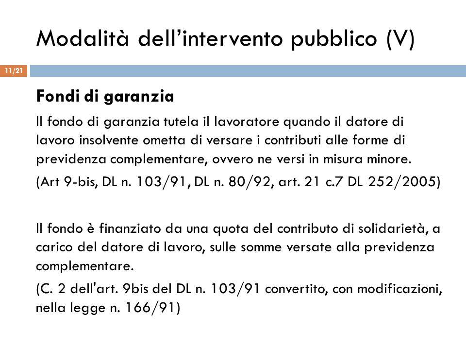 Modalità dell'intervento pubblico (V)