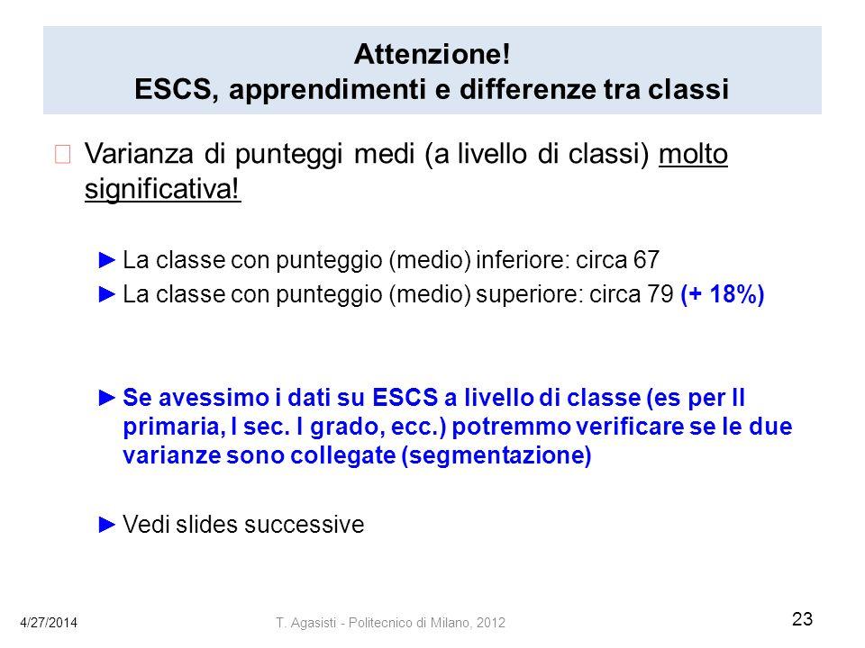 Attenzione! ESCS, apprendimenti e differenze tra classi