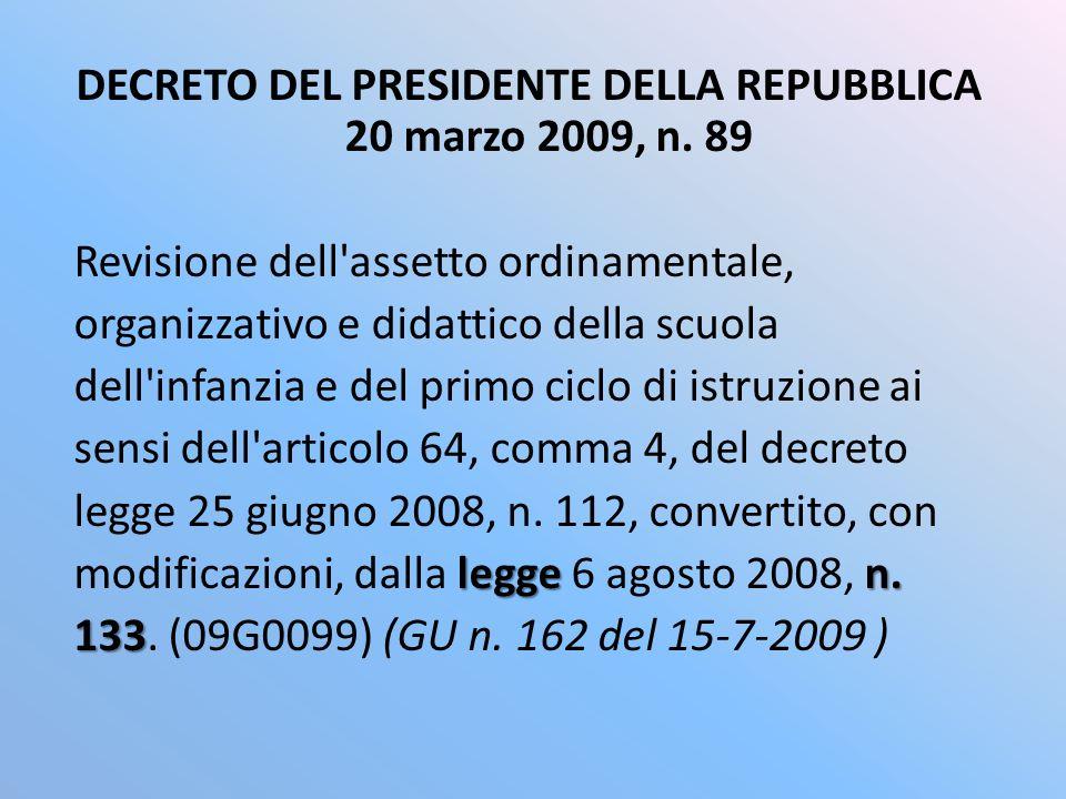 DECRETO DEL PRESIDENTE DELLA REPUBBLICA 20 marzo 2009, n