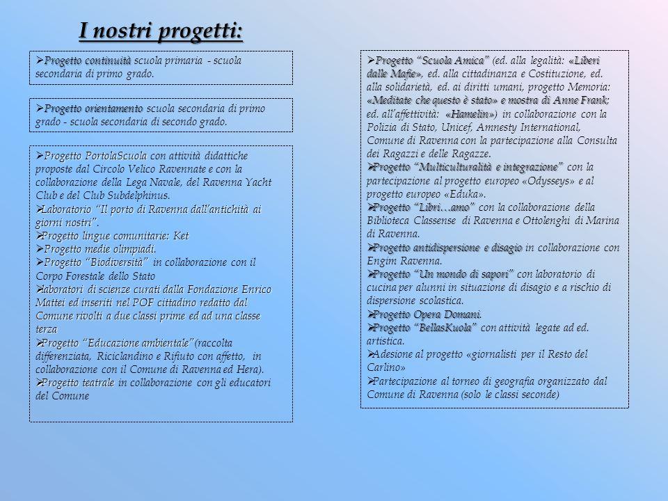 I nostri progetti: Progetto continuità scuola primaria - scuola secondaria di primo grado.