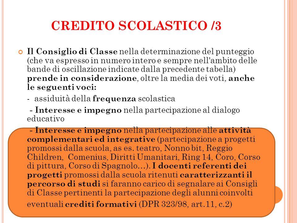 CREDITO SCOLASTICO /3