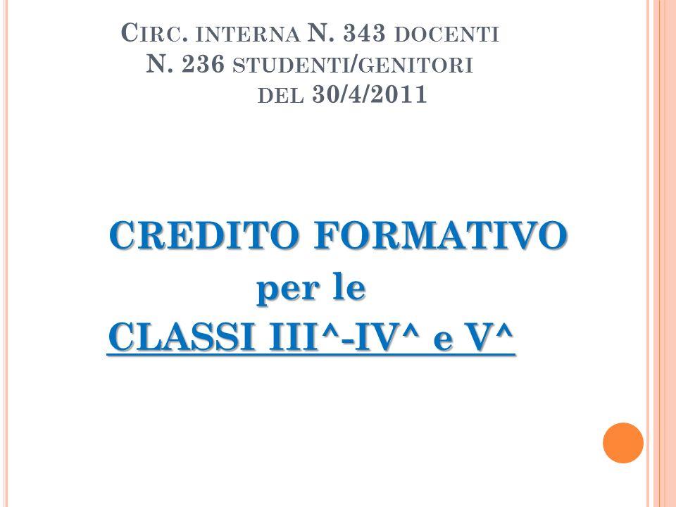 Circ. interna N. 343 docenti N. 236 studenti/genitori del 30/4/2011