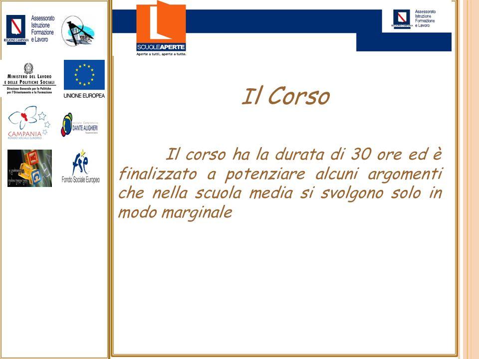 Il CorsoIl corso ha la durata di 30 ore ed è finalizzato a potenziare alcuni argomenti che nella scuola media si svolgono solo in modo marginale.