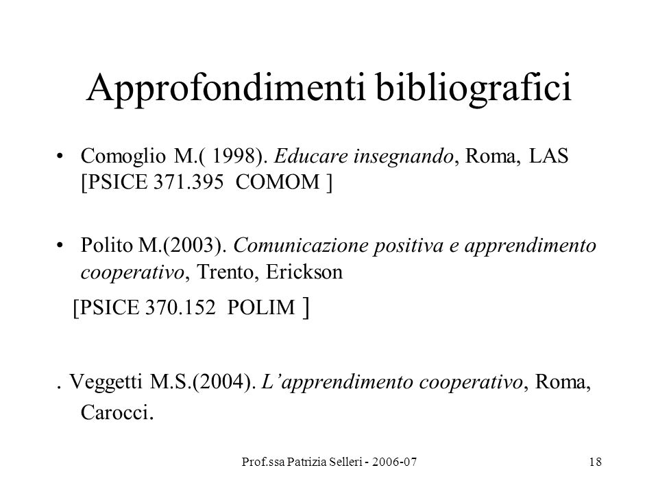 Approfondimenti bibliografici