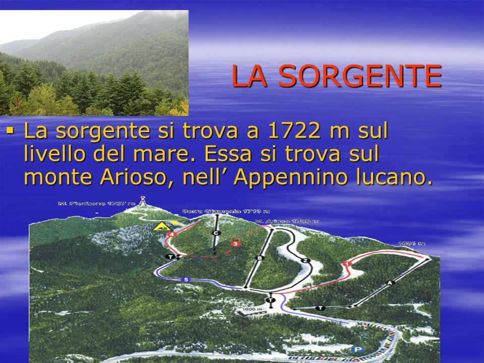 LA SORGENTE La sorgente si trova a 1722 m sul livello del mare.