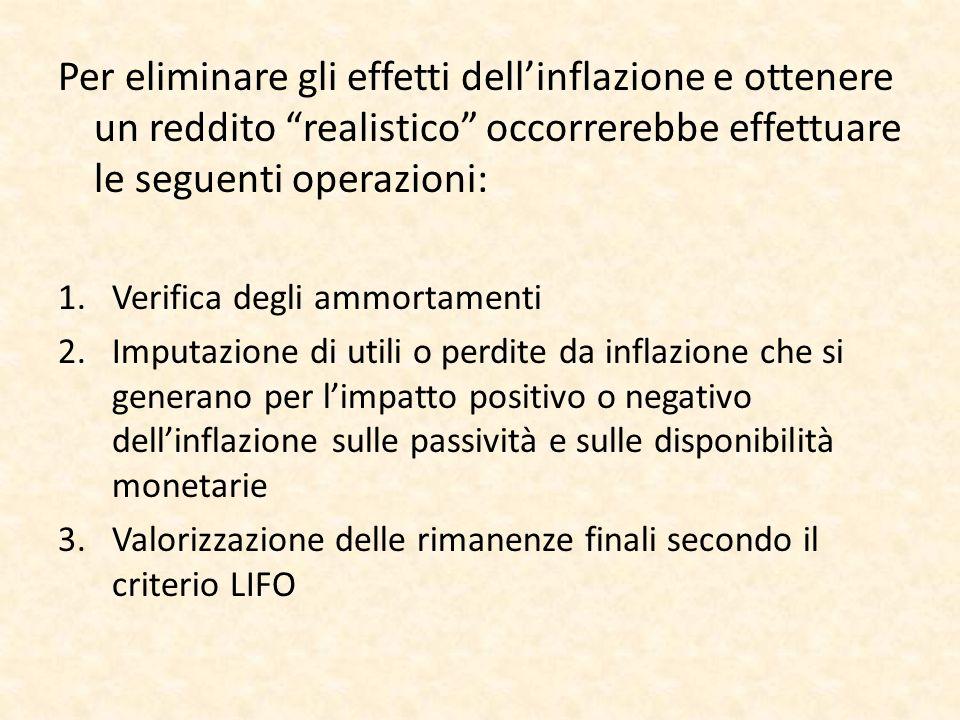 Per eliminare gli effetti dell'inflazione e ottenere un reddito realistico occorrerebbe effettuare le seguenti operazioni: