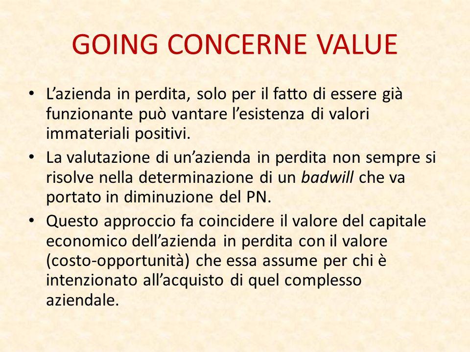 GOING CONCERNE VALUE L'azienda in perdita, solo per il fatto di essere già funzionante può vantare l'esistenza di valori immateriali positivi.